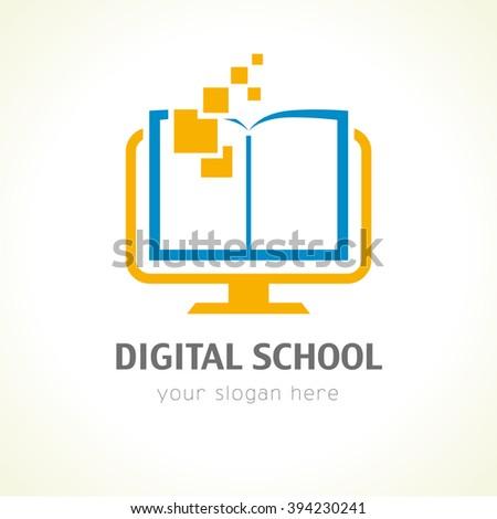 Template logo for distance learning digital technology via the Internet. Digital school book logo