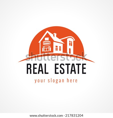 Template logo for real estate agency or cottage town elite class Real estate logo sun