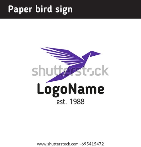 Template logo in the form of paper birds, is universal for any ...