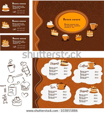 Template menu and business card for cafe and restaurant