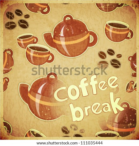 Template Menu of Coffee  - Cups and Coffee Pot on Grunge Background in Retro Style - Vector illustration