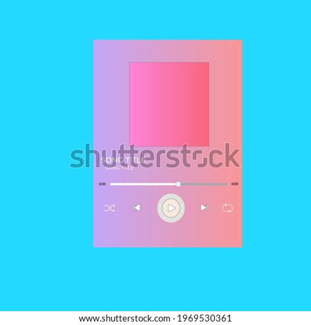 template music player for handphone on blue background. Spotify template.