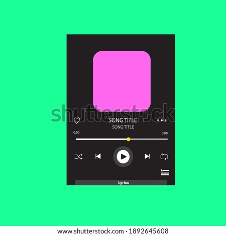 template music player with lyrics for handphone. spotify template