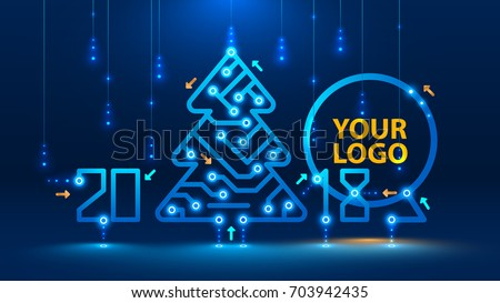 Template new year and Christmas cards in the style of new technologies. Christmas tree, 2018 year on the printed circuit Board. Snowfall and snow flakes from the electronic pulses and signals. VECTOR