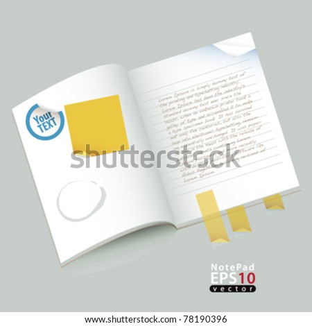 template notepad with stickers