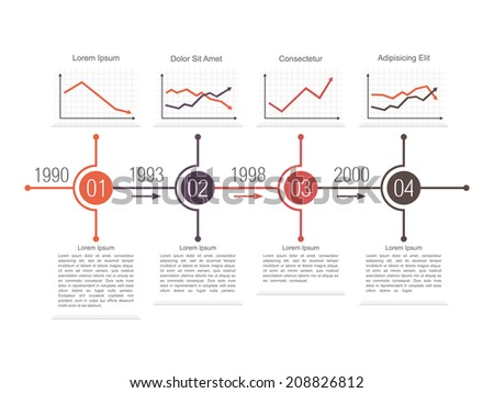 Template of a business timeline design with different line charts vector eps10 illustration