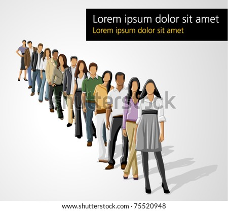 Template of a group of business and office people in a row