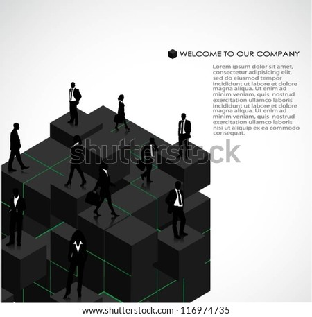 Template of a group of business and office people on 3d cubes