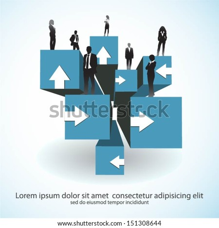 Template of a group of business and office people on 3d cubes - stock vector