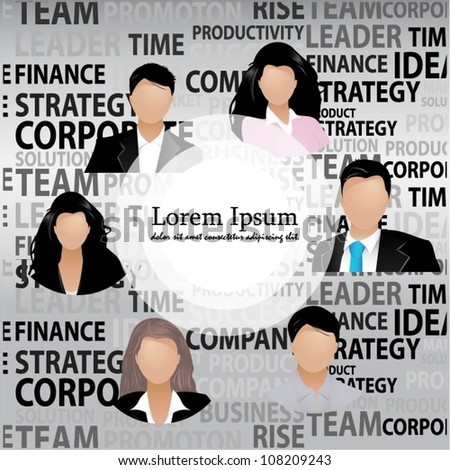 Template of a group of business and office people. Vector
