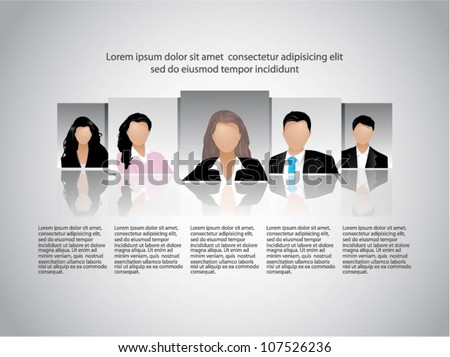 Template of a group of business and office people. Vector illustration. - stock vector