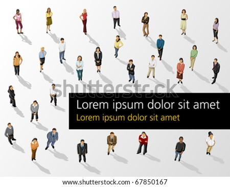 Template of a group of business and office people. Vector illustration.