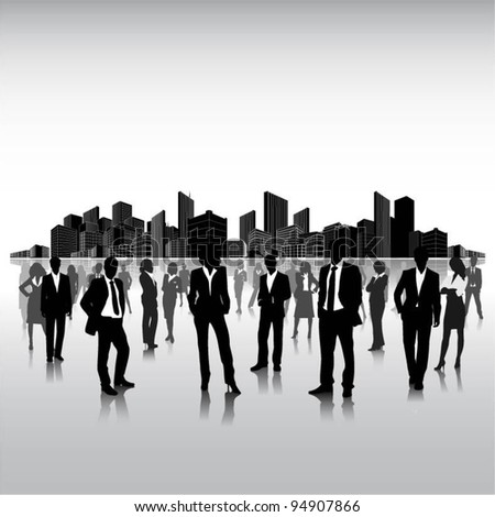 template of a group of business and office people with city landscape - stock vector