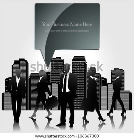 Template of a group of business and office people with city landscape and speech bubble. Vector illustration.