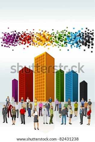 Template of a group of business and office people with colorful city