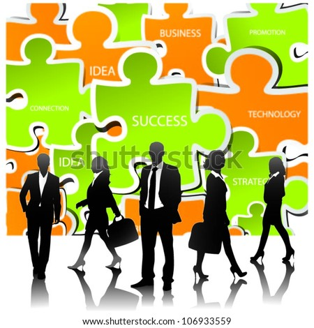 Template of a group of business and office people with puzzle pieces.Vector illustration