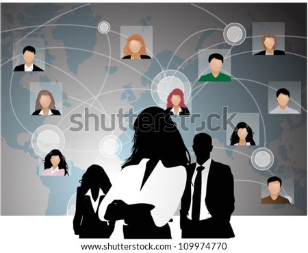 Template of a group of business and office people with world map. Vector illustration.