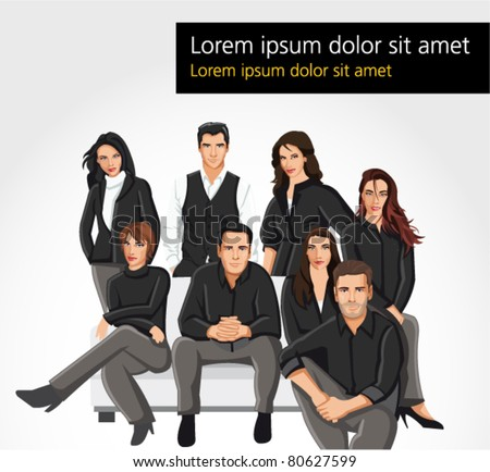 Template of a group people wearing black clothes on sofa
