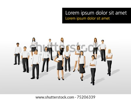 Template of a group people wearing white clothes