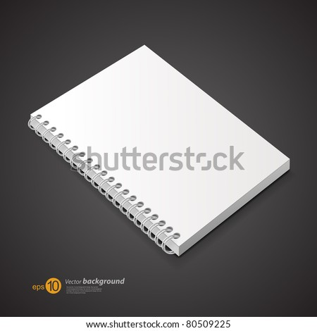 Template of a notebook with cover on a spring. A background for design.