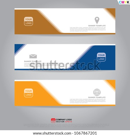 Template of banner, brochure, flyer and card voucher for header template, presentation, web banner, business design. Vector illustration EPS10 CMYK.  #1067867201