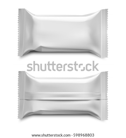 Template of blank flow packaging for food, cosmetic and hygiene. Vector illustration on white background. Ready for your design.