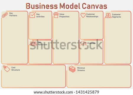 Template of Business Model Canvas. Colorful of summer season version