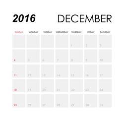 Template of calendar for December 2016