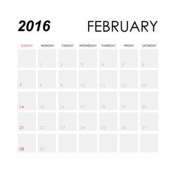 Template of calendar for February 2016