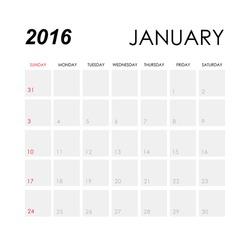 Template of calendar for January 2016