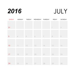 Template of calendar for July 2016