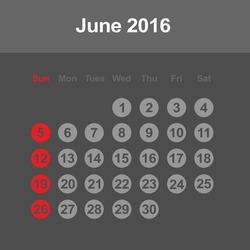 Template of calendar for June 2016