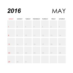 Template of calendar for May 2016