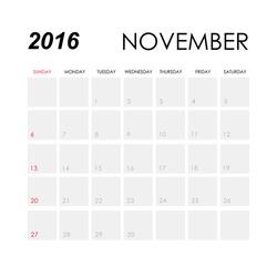 Template of calendar for November 2016