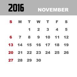 Template of calendar for NOVEMBER 2016.