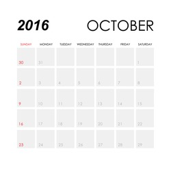 Template of calendar for October 2016