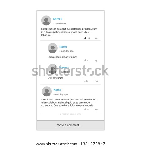 Template of comments. Comments on social media whith reply to comment. Vector illustration.