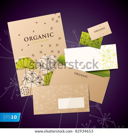 Template of corporate identity style for business artworks. Vector Bio style.