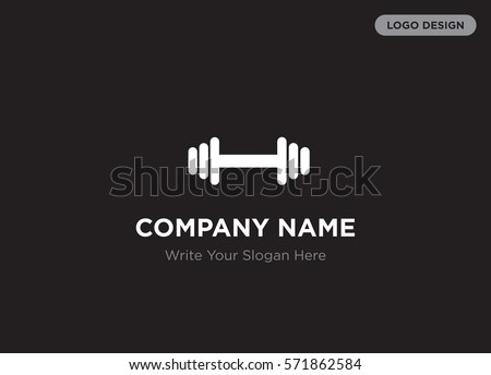 Template of elegant business logo for sport club, trainer, bodybuilder company with white barbell, weight, crossbar vector on black background, elegance