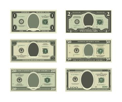 Template of fake money. Vector pictures of dollars cash money, finance banknote illustration