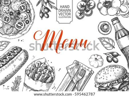 Template of fast food menu design with burger, pizza, hot dog, drinks and other fast food menu items. Cover of restaurant or cafe menu design