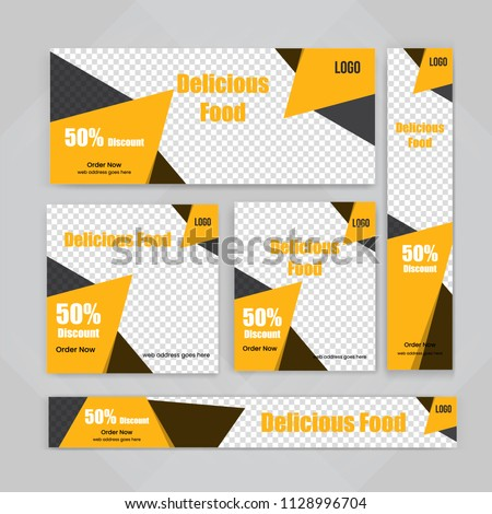 Template of Food web banners Set with diagonal elements for a photo. Universal design for advertising business, travel, food and restaurant. Photo of a mosaic for a sample. #1128996704