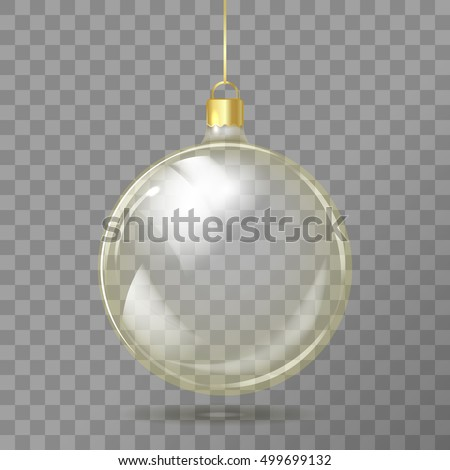 Template of glass transparent Christmas ball. Stocking element christmas decorations. Transparent vector object for design, mock-up. Shiny toy with golden glow. Isolated object. Vector illustration.