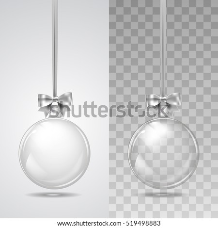 Template of glass transparent Christmas ball. Stocking element christmas decorations. Transparent vector object for design, mock-up. Shiny toy with silver glow. Isolated object. Vector illustration.