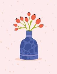 Template of  greeting card design. Dog Rose in a vase. Vector  Handdrawn illustration.