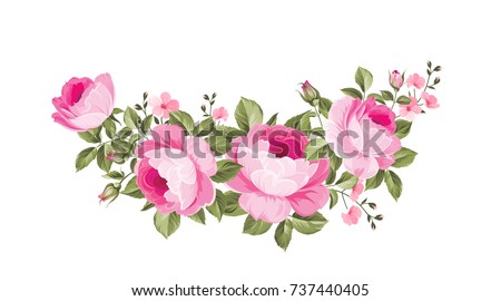 Template of invitation card. Rose garland for holiday card. Awesome flower garland with roses isolated on white. Vector illustration. #737440405