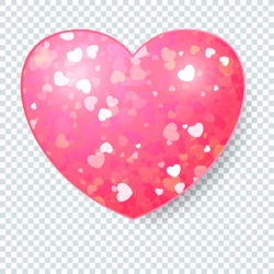Template of Luxury greeting card for Valentines Day. Shining pink heart on a transparent background.