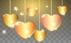 Template of Luxury greeting card for Valentines Day. SShining golden hearts hanging from above on golden threads on a transparent background.
