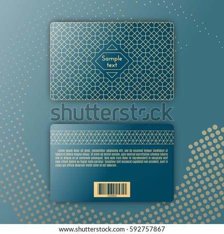Template of membership or loyalty card. Luxury gold geometric pattern. Eastern style element. Front and back. Vector. Dotted backdrop. Stock photo ©