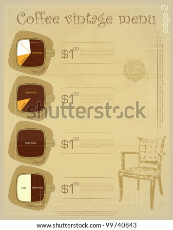 Template of menu for coffee drinks irish corretto for Irish menu templates